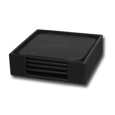 <strong>Dacasso</strong> 1000 Series Classic Leather Four Square Coaster Set with Holder in Black