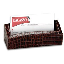 2000 Series Crocodile Embossed Leather Business Card Holder in Brown