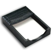 <strong>Dacasso</strong> 2000 Series Crocodile Embossed Leather 4 x 6 Memo Holder in Black