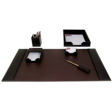 1400 Series Econo-Line Leather Six-Piece Desk Set in Brown