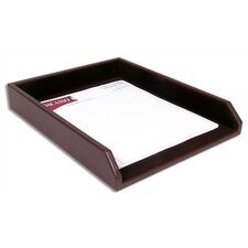 1000 Series Classic Leather Front-Load Letter Tray in Chocolate Brown