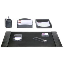 <strong>Dacasso</strong> Crocodile Embossed Leather 7-Piece Desk Set