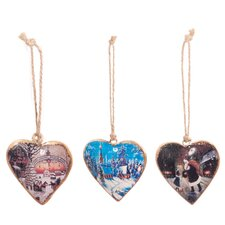 3 Piece Christmas Heart Ornament Set
