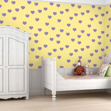 Hearts Wallpaper in Butter and Lavender