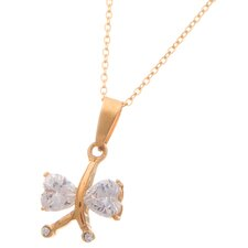 Stainless Steel Butterfly Cubic Zirconia Pendant Necklace