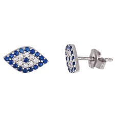 Evil Eye Marquise Cut Cubic Zirconia Stud Earrings