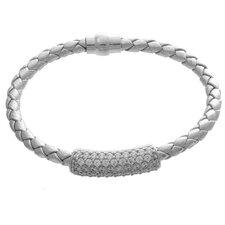 Crystal Braided ID Bangle Bracelet