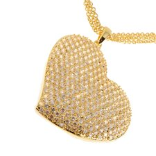 Silver Plated Heart Cubic Zirconia Pendant Necklace