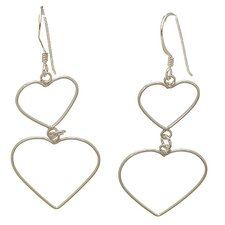 Double Open Hearts Drop Earrings