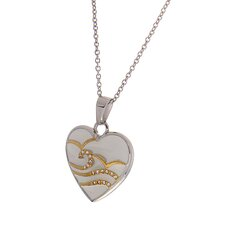 Stainless Steel Heart Crystal Pendant Necklace