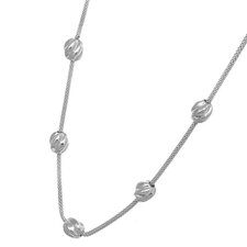 Stainless Steel Ribbed Station Balls Pendant Necklace