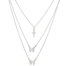 Stainless Steel Cross, Butterfly and Bow Pendant Necklace