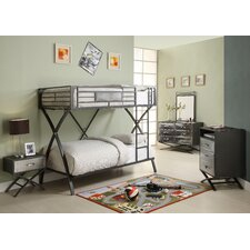 Spaced Out Chrome Bunk Bed with Built-In Ladder
