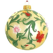 Floral Ball Blown Glass Ornament