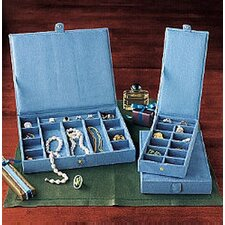Stackable Blue Faux Suede Jewelry Chest