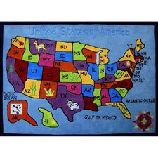 Zoomania US Map Kids Rug