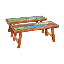 Patchwork Wood Garden Bench