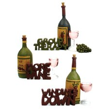 3 Piece Wine Glasses and Bottles with Sayings Statue Set