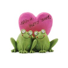 "<strong>Blossom Bucket</strong> ""With a Happy Heart"" Frogs Statue"