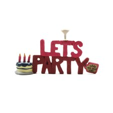 """Let's Party"" with Cake and Wine Glass Statue"