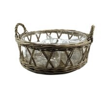 Wicker Basket with Four Divider Bowl