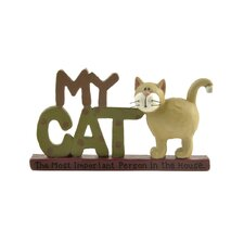 "<strong>Blossom Bucket</strong> ""My Cat"" with Cat on Base Statue"