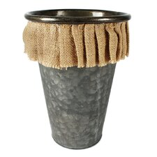Tall Thin Round Metal Bucket with Burlap