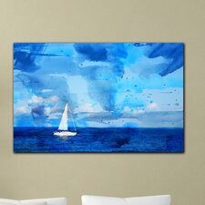 "<strong>Th-Ink Art</strong> ""Blue Sea"" Gallery Wrapped Canvas Artwork"