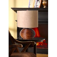 "3-Way Ceramic Wood Inspired 18.5"" H Table Lamp with Drum Shade"