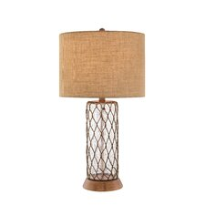 "3-Way Water Glass and Rope Accents 32"" H Table Lamp with Drum Shade"