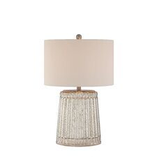 "3-Way Ribbed Mercury Glass 25"" H Table Lamp with Drum Shade"