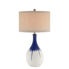"3-Way Teardrop Ceramic 30"" H Table Lamp with Drum Shade"