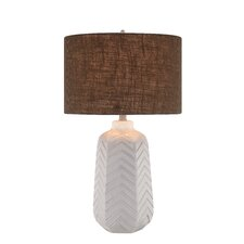 "3-Way Ceramic Chevron 27"" H Table Lamp with Drum Shade"