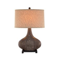 "3-Way Embossed Ceramic 28"" H Table Lamp with Drum Shade"