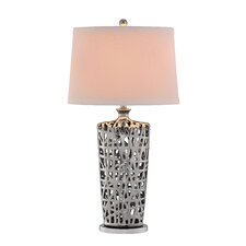 "3-Way Lattice Body Chrome Ceramic 34"" H Table Lamp with Empire Shade"