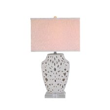 "3-Way Lattice Ceramic 27"" H Table Lamp with Drum Shade"