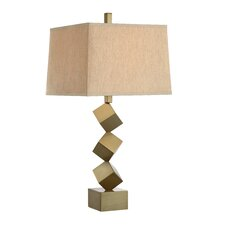 "3-Way Stacked Cube Metal 32"" Table Lamp with Square Shade"