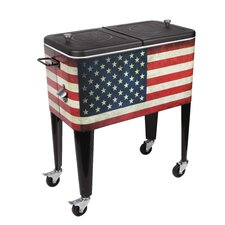 Old Glory 60 Qt. Rolling Patio Cooler