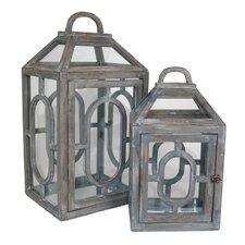 2 Piece Modern Styled Terrarium Lantern Set