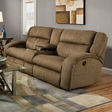 Maverick Lay Flat Console'' Reclining Loveseat