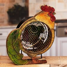 Figurine Rooster Wood Fan