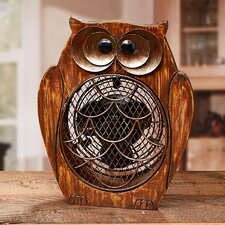 Figurine Owl Wood Fan