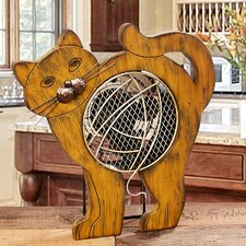 Figurine Cat Wood Fan