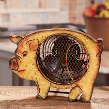 Figurine Pig Wood Fan
