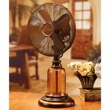 "10"" Amber Glass Table Fan"