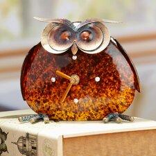 Metal Stone Colored Owl Clock