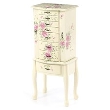 Westport Hand Painted Floral Jewelry Armoire with Mirror