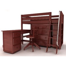 KATCHING3 Mid Loft Slat Bed with Desk and 4 Drawer Dresser