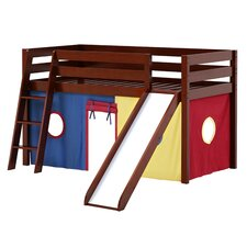 Twin Low Loft Bed with Angled Ladder, Slide and Curtain