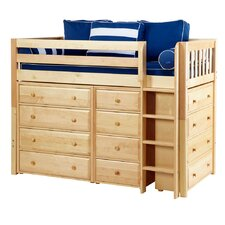 Mid Loft Bed with Straight Ladder, 2x4 Drawer Chest and Narrow 4 Drawer Chest